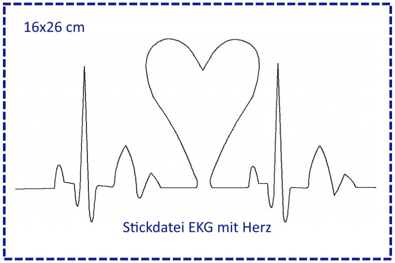 - Stickdatei 16x26cm Herzklopfen - EKG mit Herz - Stickdatei 16x26cm Herzklopfen - EKG mit Herz