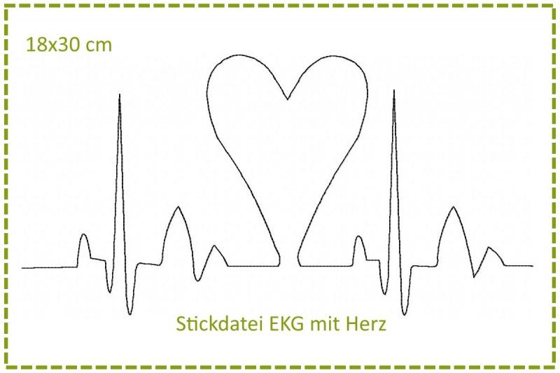 - Stickdatei 18x30cm Herzklopfen - EKG mit Herz - Stickdatei 18x30cm Herzklopfen - EKG mit Herz