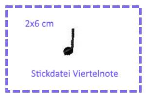 - Stickdatei 2x6cm 1/4-Note - Stickdatei 2x6cm 1/4-Note
