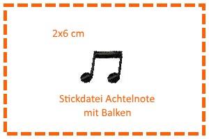- Stickdatei 2x6cm 1/8-Noten mit Balken - Stickdatei 2x6cm 1/8-Noten mit Balken