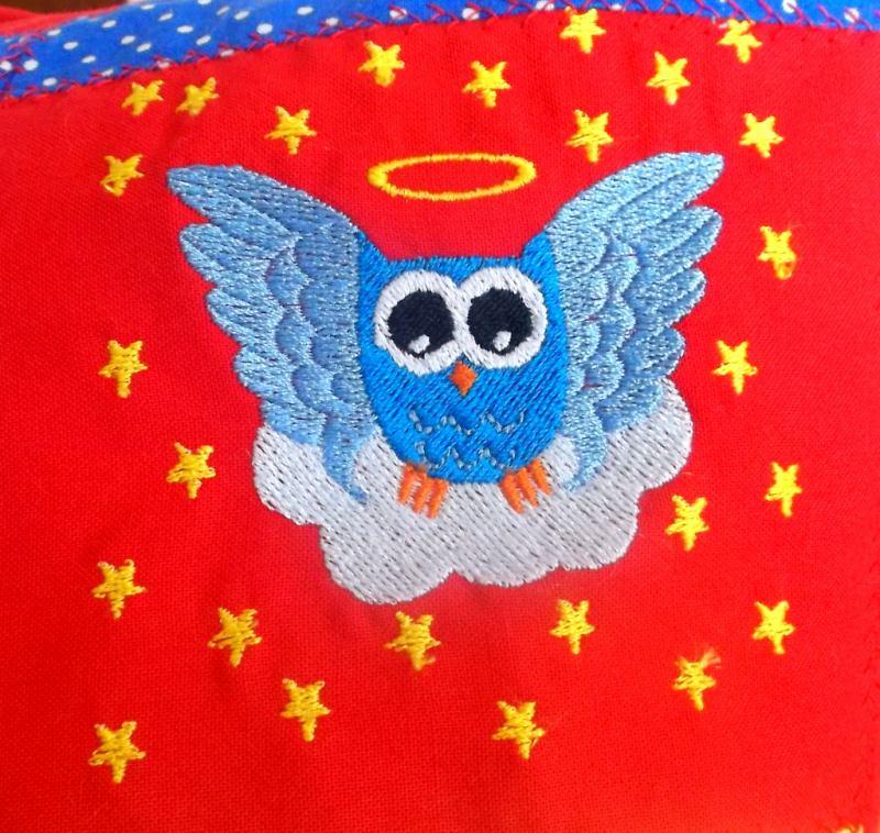Kleinesbild - Engel-Eule auf Wolke 10x10cm Stickdatei