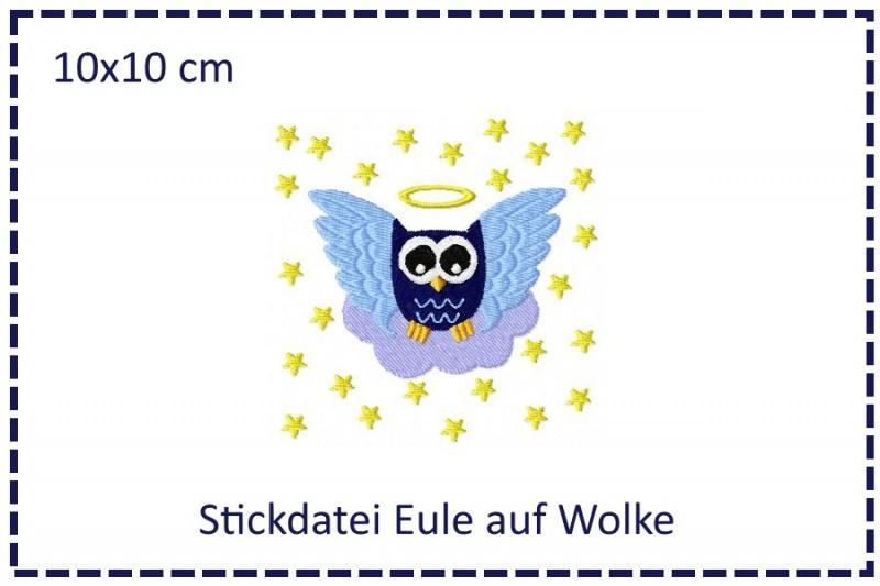 - Engel-Eule auf Wolke 10x10cm Stickdatei - Engel-Eule auf Wolke 10x10cm Stickdatei