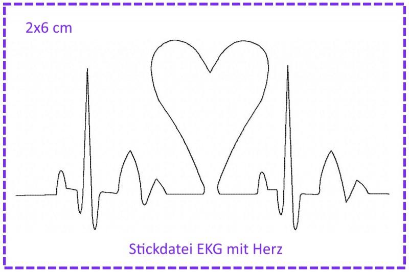 - Stickdatei Herzklopfen - EKG mit Herz 2x6cm - Stickdatei Herzklopfen - EKG mit Herz 2x6cm