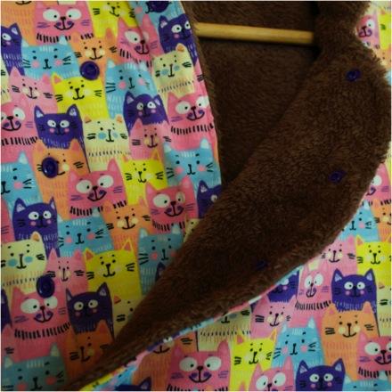 Kleinesbild - Handgenähte Katzen-Mädchen-Winterjacke,rosa,Gr.80,Babyjacke