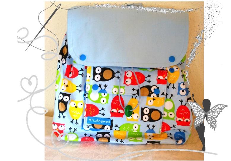 - Handgenähter,farbenfroher Kinderrucksack mit Eulenmotiv - Handgenähter,farbenfroher Kinderrucksack mit Eulenmotiv