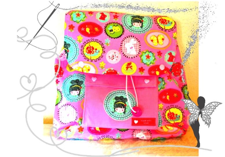 - Handgenähter rosa Kinderrucksack  Prinzessin mit kleiner Kulturtasche im Set - Handgenähter rosa Kinderrucksack  Prinzessin mit kleiner Kulturtasche im Set