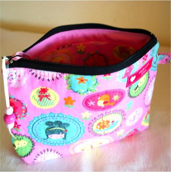 Kleinesbild - Handgenähter rosa Kinderrucksack  Prinzessin mit kleiner Kulturtasche im Set