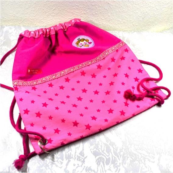 Kleinesbild - Prinzessin-Rucksack,Turnbeutel rosa,pink mit Glitzerspitze