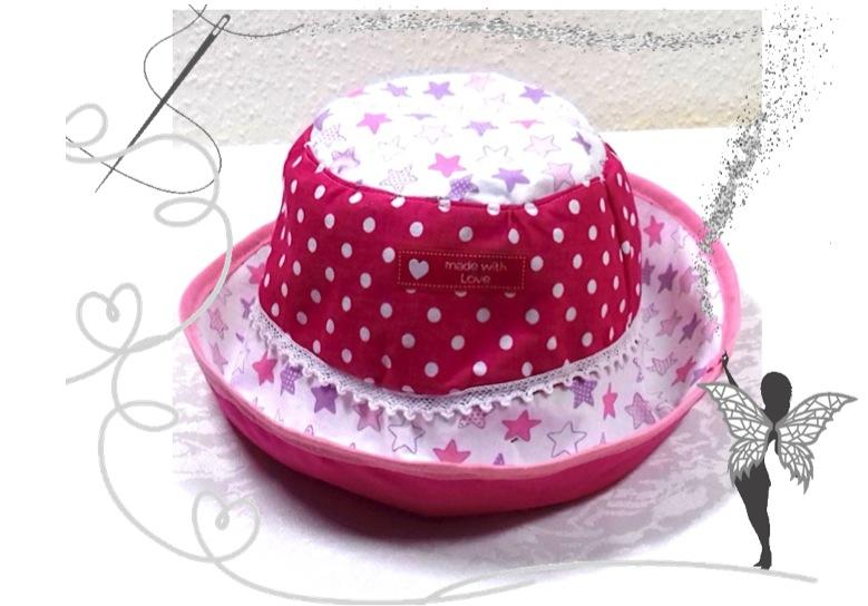 - Handgemachter Sonnenhut für Kinder 3-6Jahren,Baumwolle,rosa,Sterne,pink - Handgemachter Sonnenhut für Kinder 3-6Jahren,Baumwolle,rosa,Sterne,pink