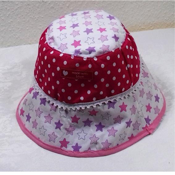 Kleinesbild - Handgemachter Sonnenhut für Kinder 3-6Jahren,Baumwolle,rosa,Sterne,pink