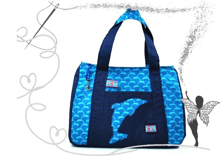 - Schicke, kleine Mädchenhandtasche mit Delphin,türkis-blau - Schicke, kleine Mädchenhandtasche mit Delphin,türkis-blau