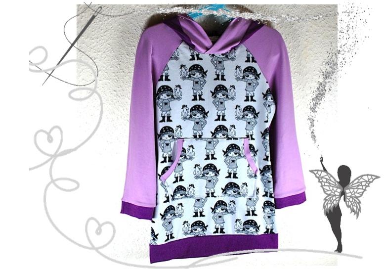 - Tunika,Mädchenkleid Gr.116 mit starken Piratenmädchen,lila,flieder - Tunika,Mädchenkleid Gr.116 mit starken Piratenmädchen,lila,flieder