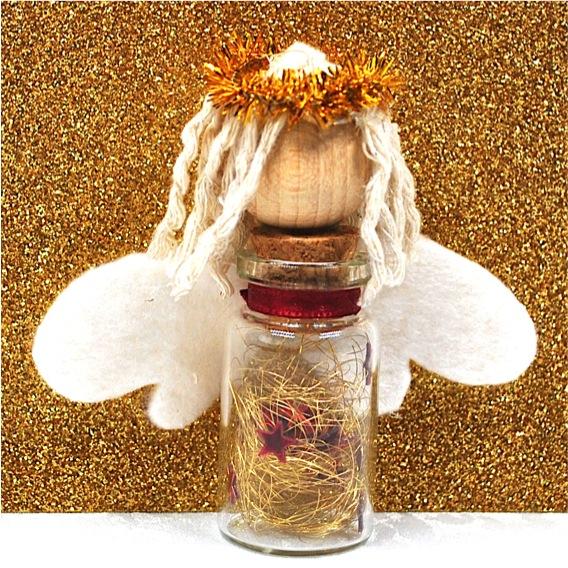 Kleinesbild - Schutzengel aus Glasfläschchen,Anhänger für Geschenke,Weihnachtsdeko