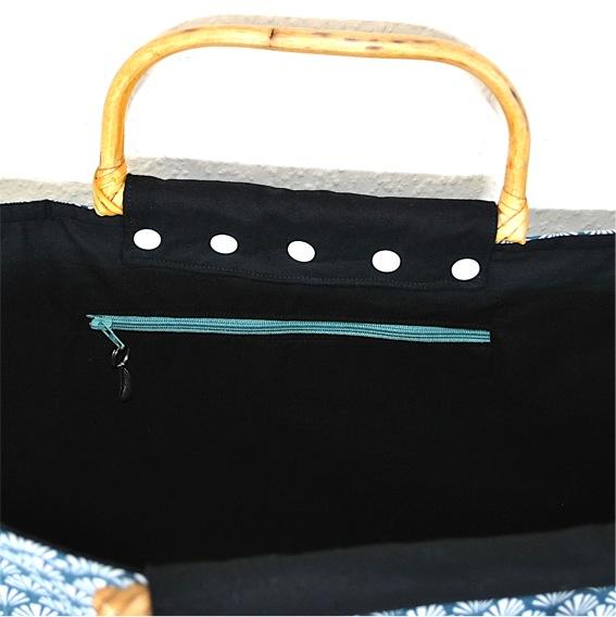 Kleinesbild - Schicke Einkaufstasche,Shoppertasche,Strandtasche mit Peddigrohr-Taschengriffen