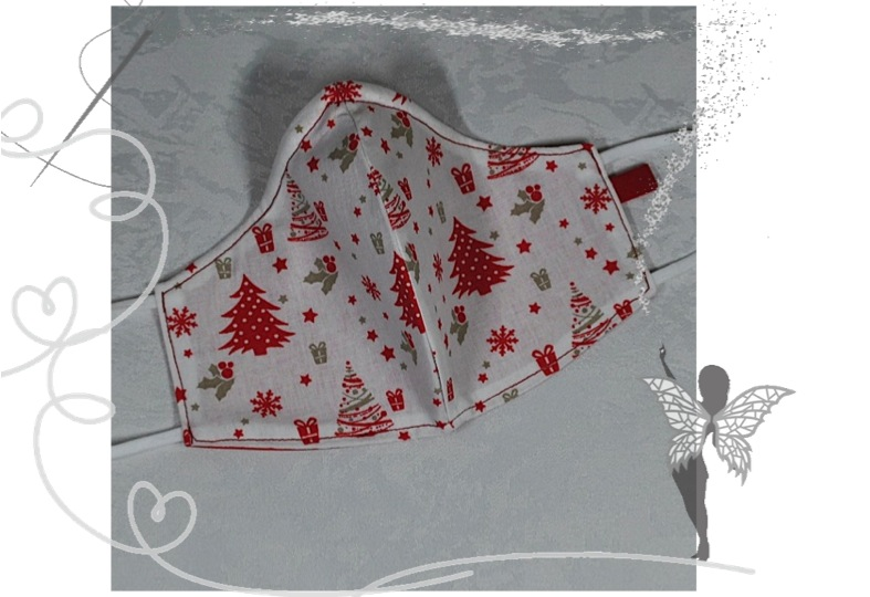 - Behelfsmaske mit Nasenbügel ,2-lagig,100%Baumwolle,Advent   - Behelfsmaske mit Nasenbügel ,2-lagig,100%Baumwolle,Advent