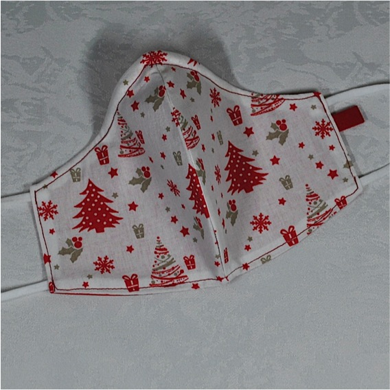 Kleinesbild - Behelfsmaske mit Nasenbügel ,2-lagig,100%Baumwolle,Advent