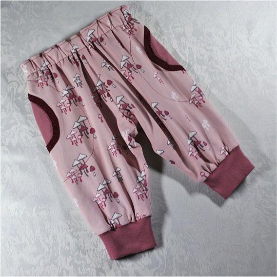 Kleinesbild - Babyset Gr.62/68,Langarmshirt und Pumphose-gefüttert,rosa Pilze,Geschenk zur Geburt