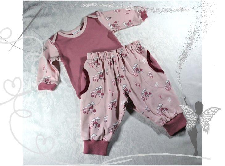 - Babyset Gr.62/68,Langarmshirt und Pumphose-gefüttert,rosa Pilze,Geschenk zur Geburt   - Babyset Gr.62/68,Langarmshirt und Pumphose-gefüttert,rosa Pilze,Geschenk zur Geburt