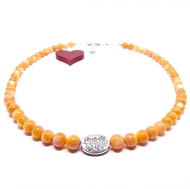 - ♥ Perlmuttkette in einem schönen india-orangen Farbton, 6 mm  ♥  - ♥ Perlmuttkette in einem schönen india-orangen Farbton, 6 mm  ♥