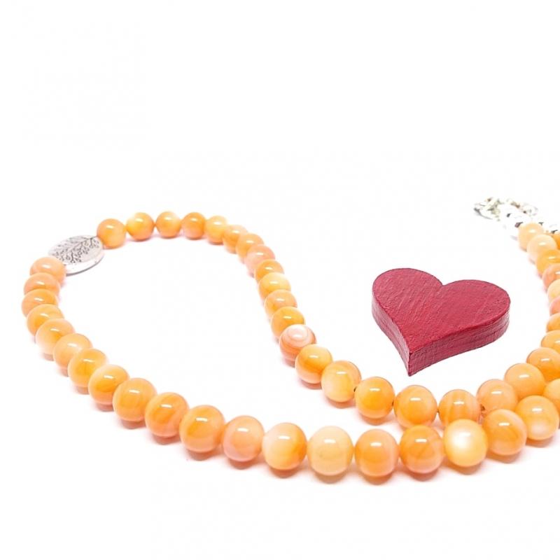 Kleinesbild - ♥ Perlmuttkette in einem schönen india-orangen Farbton, 6 mm  ♥