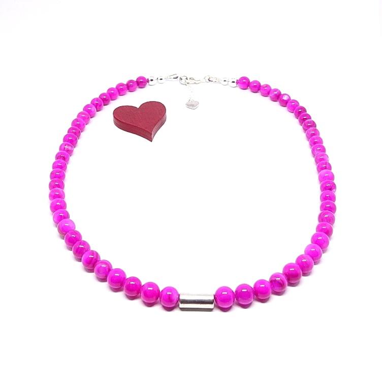 - ♥ Perlmuttkette in einem sehr kräftigen pinken Farbton, 6 mm   ♥  - ♥ Perlmuttkette in einem sehr kräftigen pinken Farbton, 6 mm   ♥
