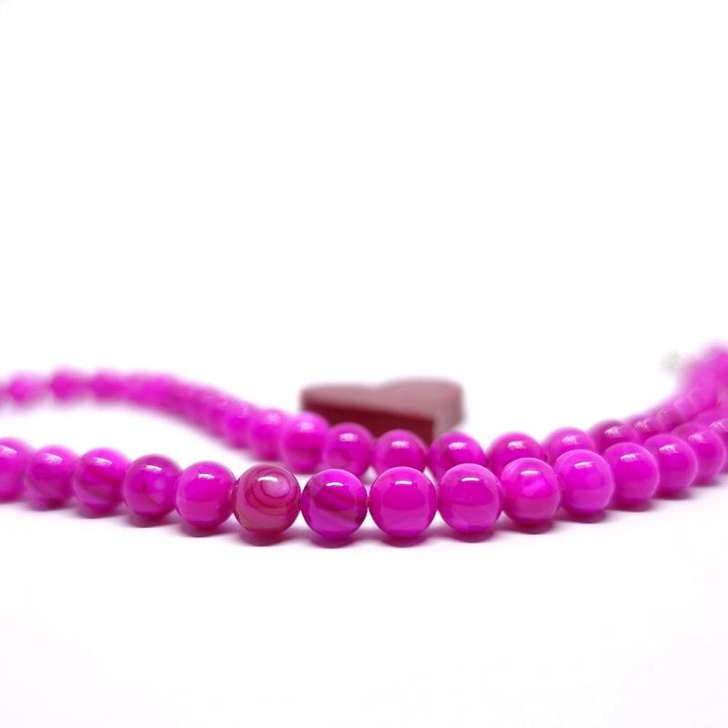 Kleinesbild - ♥ Perlmuttkette in einem sehr kräftigen pinken Farbton, 6 mm   ♥