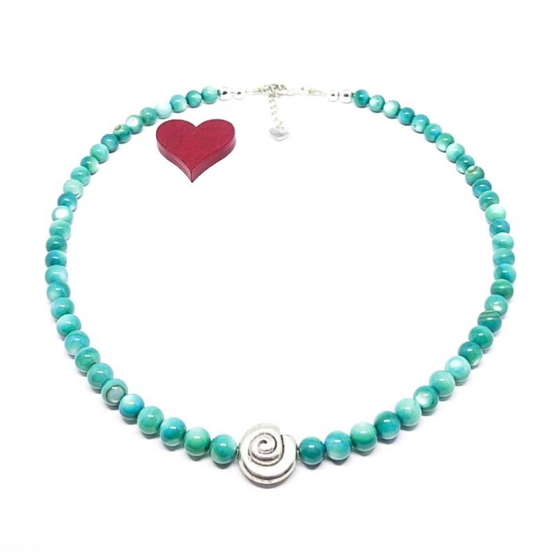 - ♥ Perlmuttkette in der wunderschönen Farbe türkisgrün, 6 mm  ♥  - ♥ Perlmuttkette in der wunderschönen Farbe türkisgrün, 6 mm  ♥