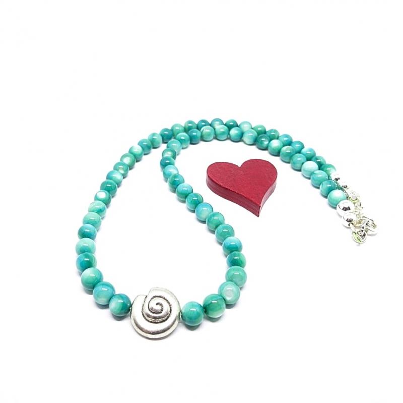 Kleinesbild - ♥ Perlmuttkette in der wunderschönen Farbe türkisgrün, 6 mm  ♥