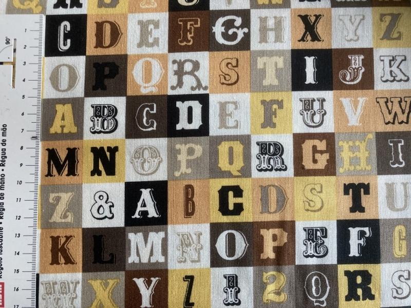 - Baumwollstoff mit Buchstaben und Zahlen für Jungen  - Baumwollstoff mit Buchstaben und Zahlen für Jungen