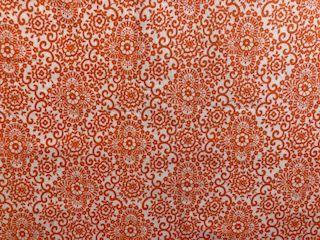 Kleinesbild - Baumwollstoff orange mit Blumenmuster in Ornamentform