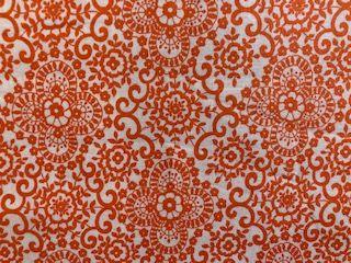 - Baumwollstoff orange mit Blumenmuster in Ornamentform - Baumwollstoff orange mit Blumenmuster in Ornamentform