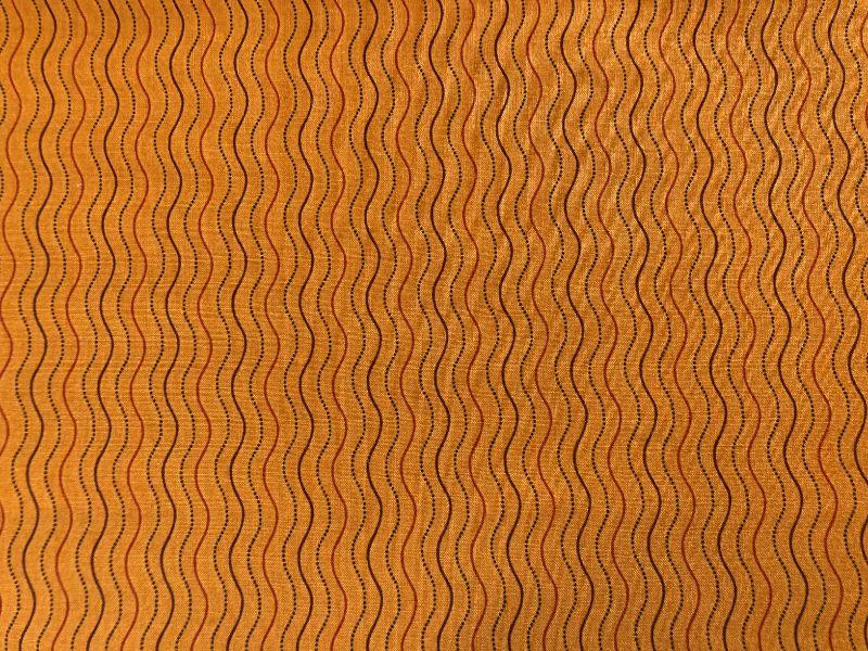 Kleinesbild - Baumwollstoff, orange mit Wellenlinien