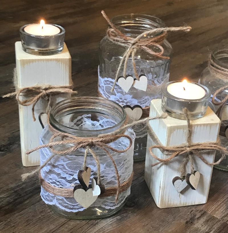 Dekoration 4 Windlichter 4 Kerzenstander Hochzeit Tischdeko
