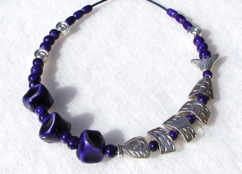 - Halskette SILBER-FISCH  in Navy-Blau Keramik Lederband Schnecke originell - Halskette SILBER-FISCH  in Navy-Blau Keramik Lederband Schnecke originell
