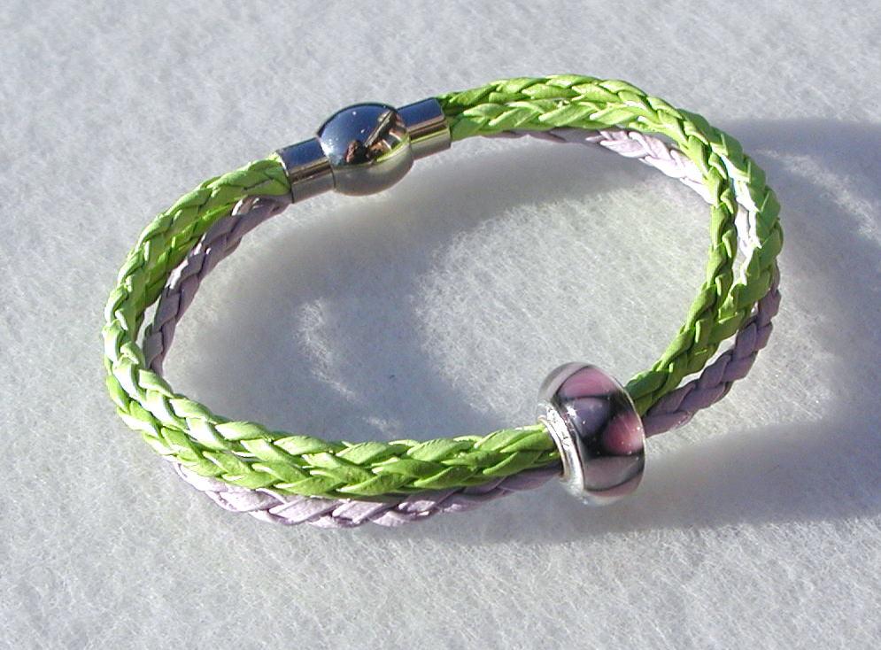 - Armband FLIEDER-GRÜN mit Perle  - Armband FLIEDER-GRÜN mit Perle