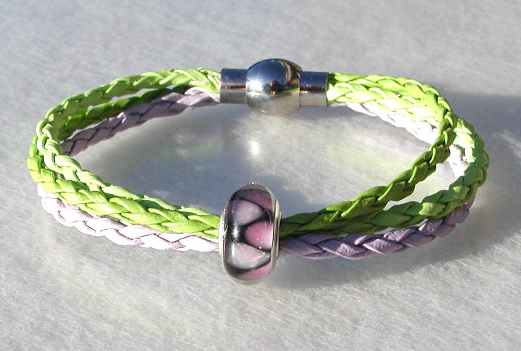 Kleinesbild - Armband FLIEDER-GRÜN mit Perle