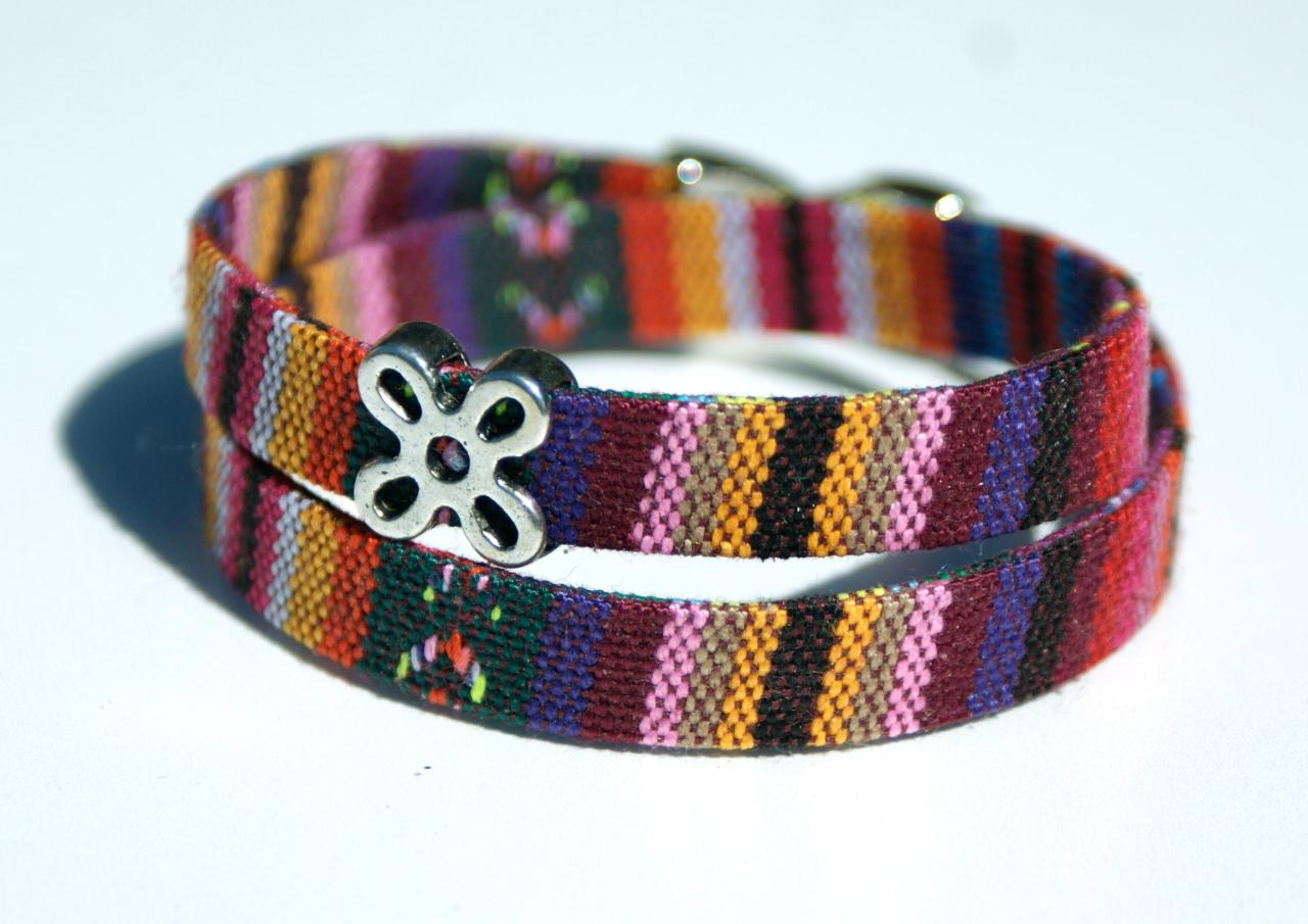 Kleinesbild - Wickelarmband ETHNO bunt Blume Textil Zamak handgemacht