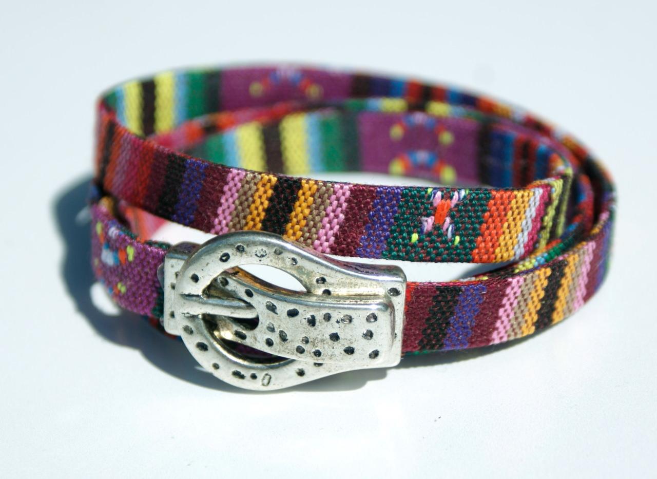 Kleinesbild - Wickelarmband Männer ETHNO Gürtel Schnalle Magnet Textil bunt