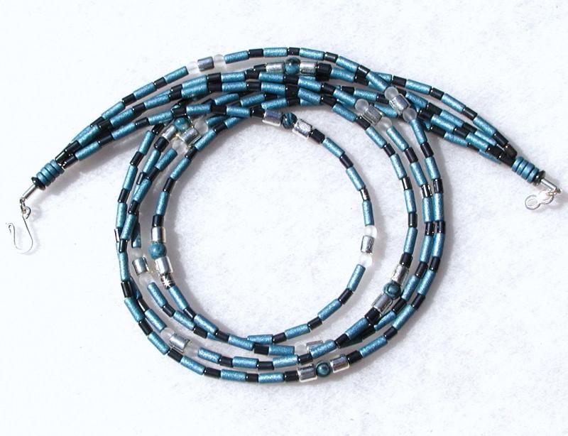 Kleinesbild - 4reihiges Collier GLANZLICHTER Keramik Hämatit Jaspis Bergkristall versilbert Halskette Unikat glänzend elegant ausgefallen