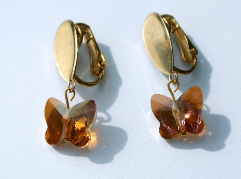 Kleinesbild - Clips TROPFEN vergoldet Schmetterling romantisch