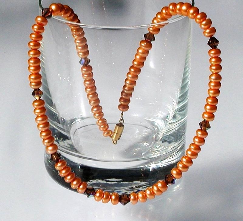 - Halskette ORANGE Zuchtperlen Swarovski-Steine elegant - Halskette ORANGE Zuchtperlen Swarovski-Steine elegant