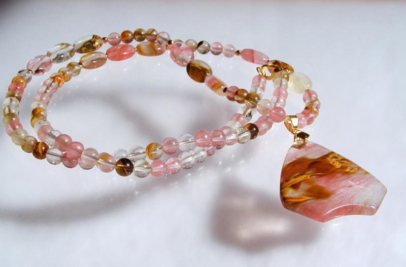 Kleinesbild - lange Halskette CHERRY QUARZ mit Anhänger romantisch