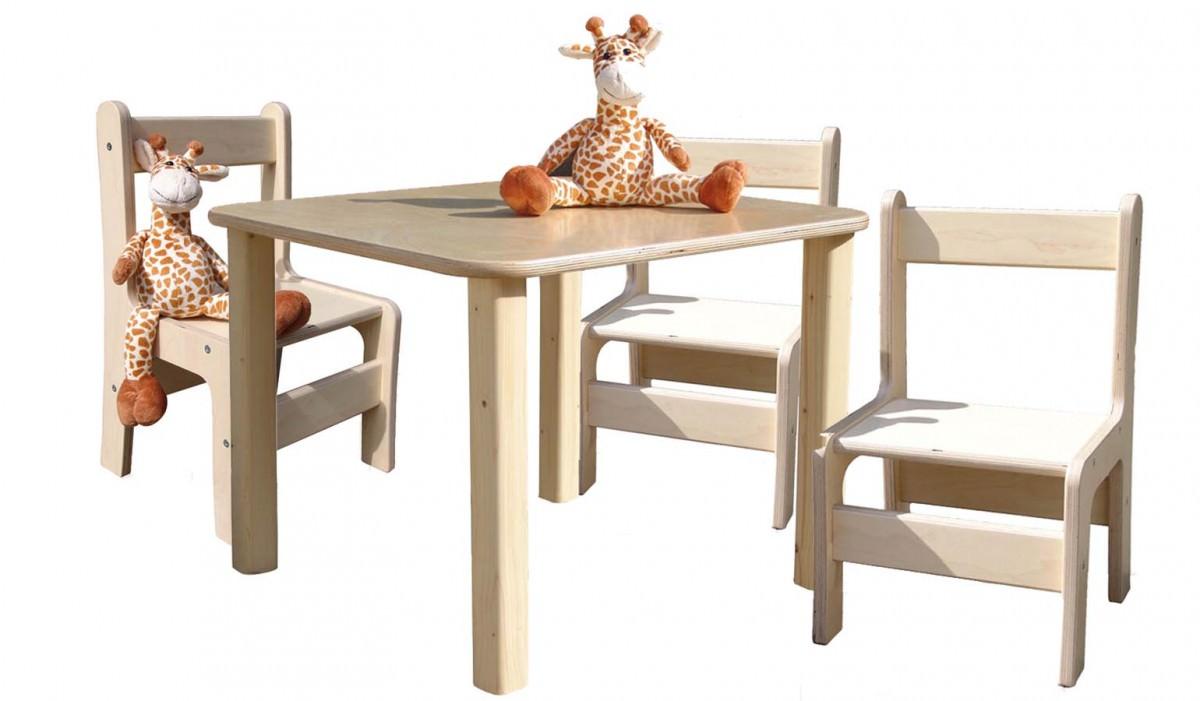 kinderm bel kindersitzgruppe kinderm bel tisch und 3 st hle naturbelassen und. Black Bedroom Furniture Sets. Home Design Ideas