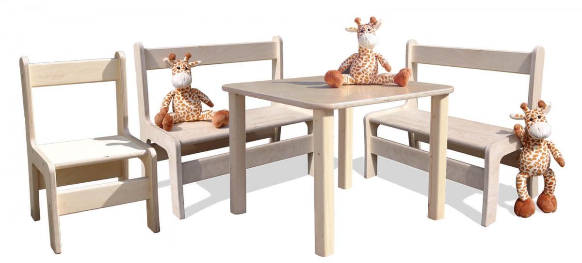 kinder kindersitzgruppe kinderm bel tisch 2 b nke und 1 stuhl naturbelassen und. Black Bedroom Furniture Sets. Home Design Ideas