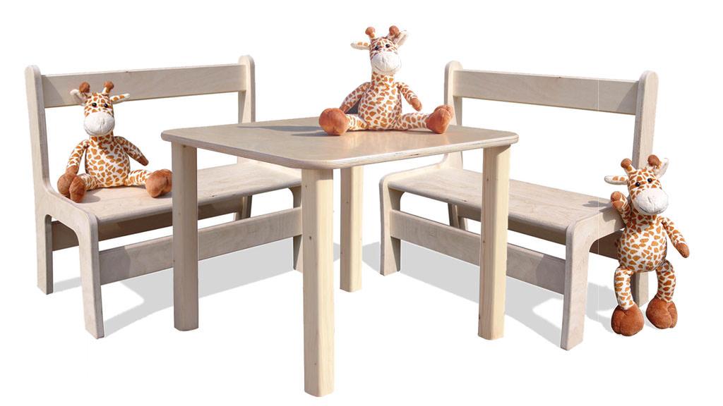 kinder kindersitzgruppe kinderm bel tisch und 2 b nke naturbelassen und unglaublich stabil. Black Bedroom Furniture Sets. Home Design Ideas