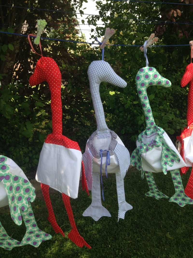 Kleinesbild - Wäscheklammerbeutel - Glupperlgans - Wäscheklammer -Tütenspender - Klammerbeutel - Utensilo - rosa - handgemachte Geschenke