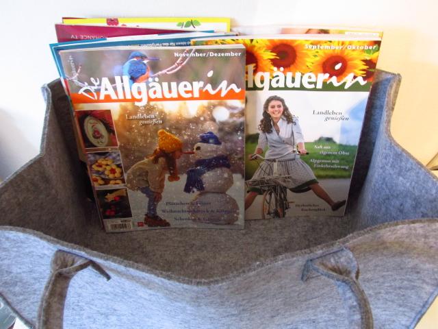 Kleinesbild - Filztasche - Shopper aus Filz - Dackel - Hund -Tasche aus Filz - Kaminholzkorb  - Kaminholztasche - Zeitungskorb - Projekttasche - Projektkorb - Transporttasche