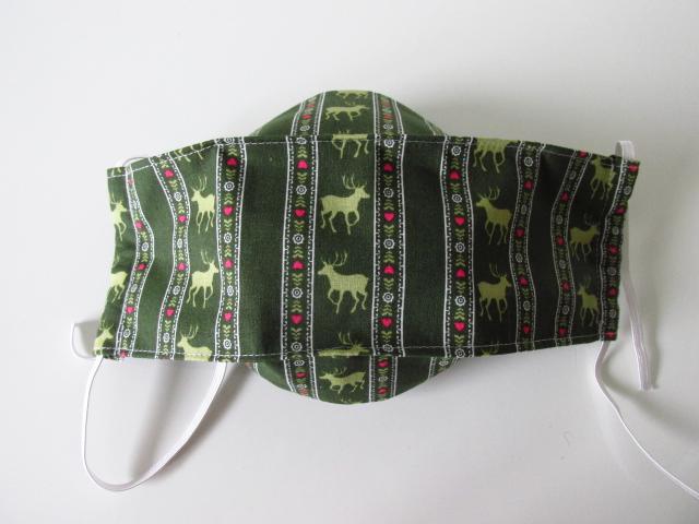 Kleinesbild - Weihnachtsmaske - Mund - und Nasenmaske - Weihnachten - Wintermaske - wiederverwendbar - waschbar - zur Tracht  - dunkelgrün mit Hirsch