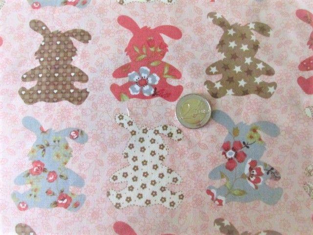 Kleinesbild - Furoshiki Geschenktücher Geschenkverpackung Zero Waste Ostern Osterverpackung Hasen apricot  in