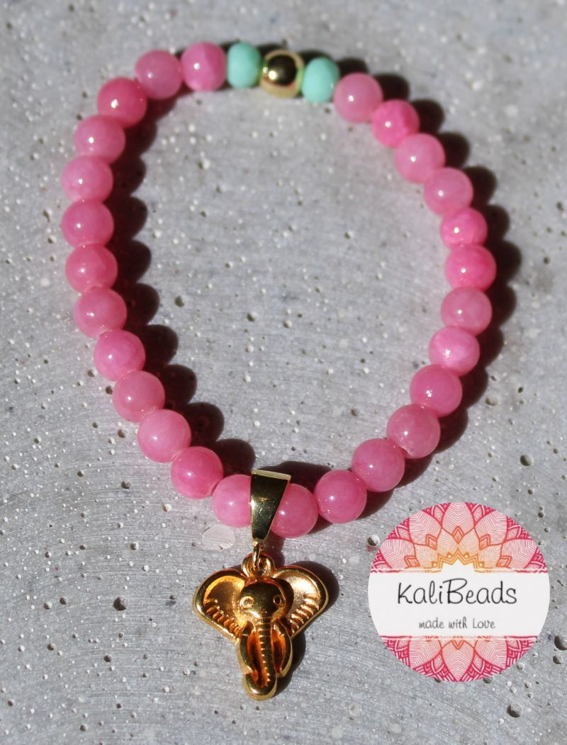 """Kleinesbild - Armband """"Pink-Elephant"""" aus Naturstein"""